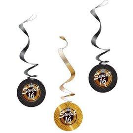 Zwart Gouden Sweet 16 Swirls