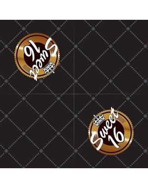 Zwart Gouden Sweet 16 Servetten