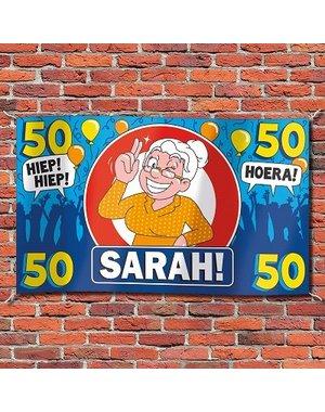 Sarah 50 jaar XXL Gevelvlag