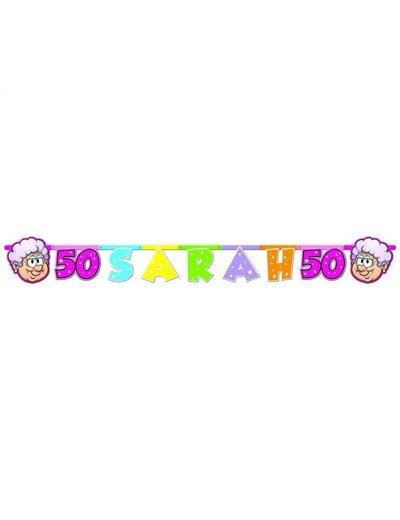 versiering Letterbanner Regenboog Sarah 50 jaar