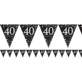 Zwart gouden 40 jaar glitter vlaggenlijn