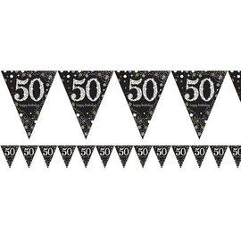 Zwart gouden 50 jaar glitter vlaggenlijn