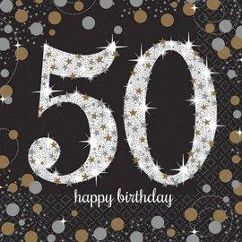 Zwarte Sparkling 50 jaar servetten