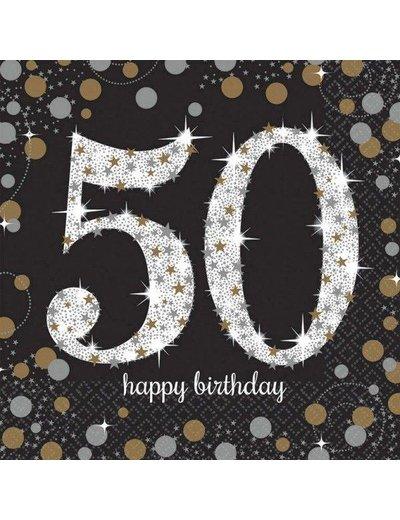 Zwart Zilver Sparkling 50 jaar servetten