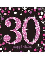 Zwart Roze Sparkling 30 jaar Servetten