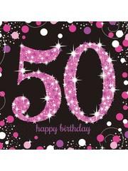 Zwart Roze Sparkling 50 jaar Servetten