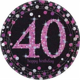 Zwart Roze Glitter 40 jaar bordjes