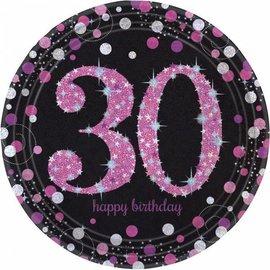 Zwarte Roze Glitter 30  jaar bordjes