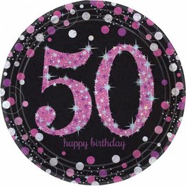 Zwart Roze Glitter 50 jaar bordjes