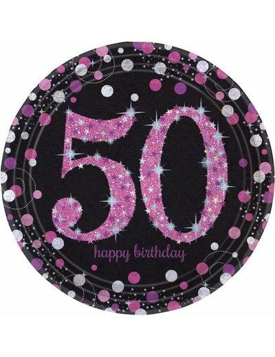Zwart Roze Sparkling 50 jaar bordjes