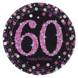 Zwart Roze Glitter 60 jaar bordjes