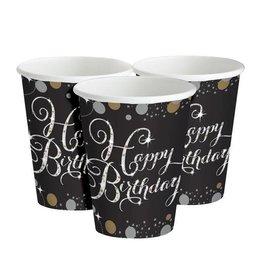 Zwart Gouden Happy Birthday Bekers