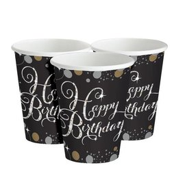 Zwart Zilver Sparkling Happy Birthday Bekers