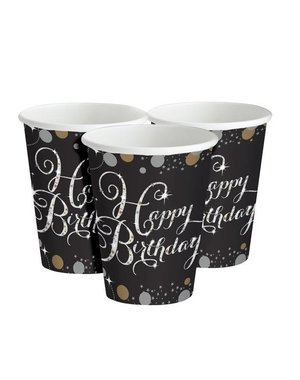 Zwart Zilver Sparkling Happy Birthday Bekers