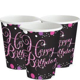 Zwart Roze Sparkling Happy Birthday Bekers