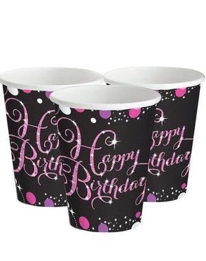Zwart Roze Sparkling Happy Birthday Bekers