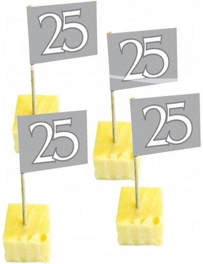Cocktailprikkers zilver 25