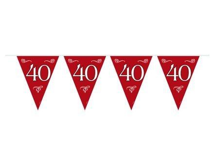 Bedwelming Rode 40 jaar Getrouwd Vlaggenlijn - Feestperpost &MO09