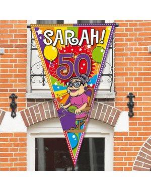 Versiering Grote Puntvlag Knalfeest Sarah 50 jaar