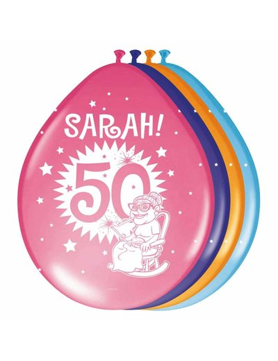 Versiering Ballonnen Knalfeest Sarah 50 jaar - 8stk