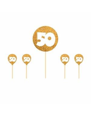 Glitter gouden 50 cake topper