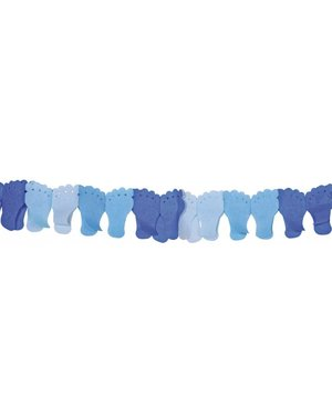 Blauwe geboorte slinger met voetjes