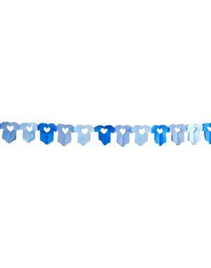 Blauwe geboorte slinger met rompertjes