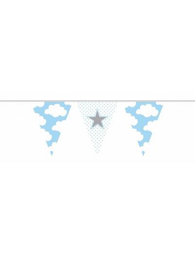 geboorte Vlaggenlijn hartjes wolkjes geboorte blauw
