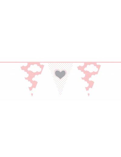 geboorte Vlaggenlijn hartjes wolkjes geboorte roze