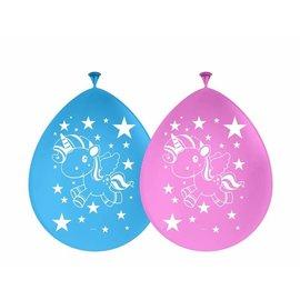 Blauwe  en roze eenhoorn ballonnen