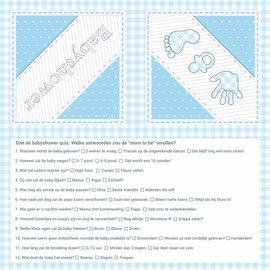 Blauwe Baby shower servetten met vragen