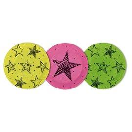 Neon kleuren weggooi borden met sterren
