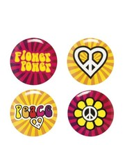 Hippie peace seventies buttons