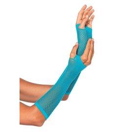 Neon blauwe net handschoenen