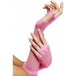 Neon roze net handschoenen