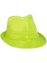 Neon gele hoed met pailletten