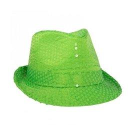 Neon groene hoed met pailletten
