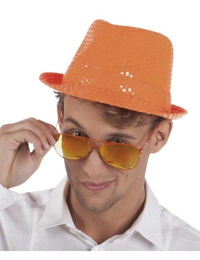 Neon oranje hoed met pailletten