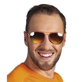 Oranje piloten bril mirror glazen