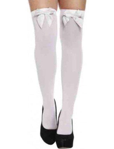 Witte kousen met strik in diverse kleuren