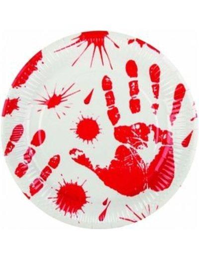 Witte borden met bloedhanden spatten