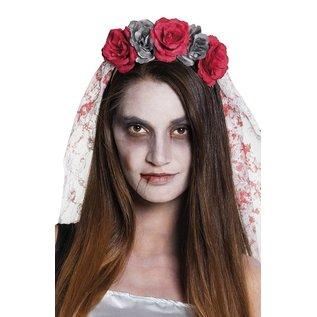 Tiara horror bruid met sluier Halloween