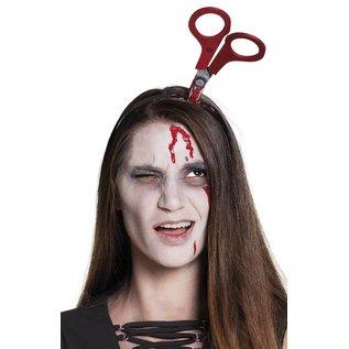 Horror Tiara met schaar in hoofd