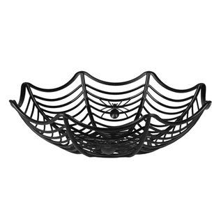 Halloweenmandje spinnenweg met spinnen 27cm