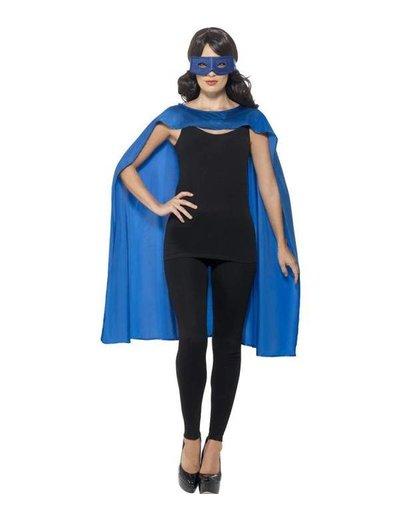 Blauwe cape met oogmasker Unisex