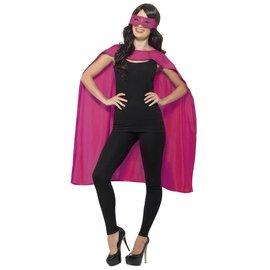 Roze cape met oogmasker Unisex