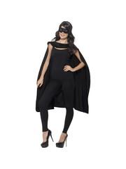 Zwarte cape met oogmasker Unisex