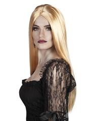 Blonde lange pruik met middenscheiding