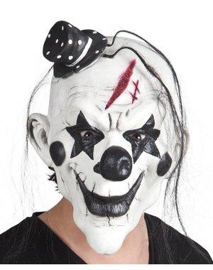 Psycho clown masker met haar