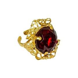 Sinterklaas ring ronde steen rood